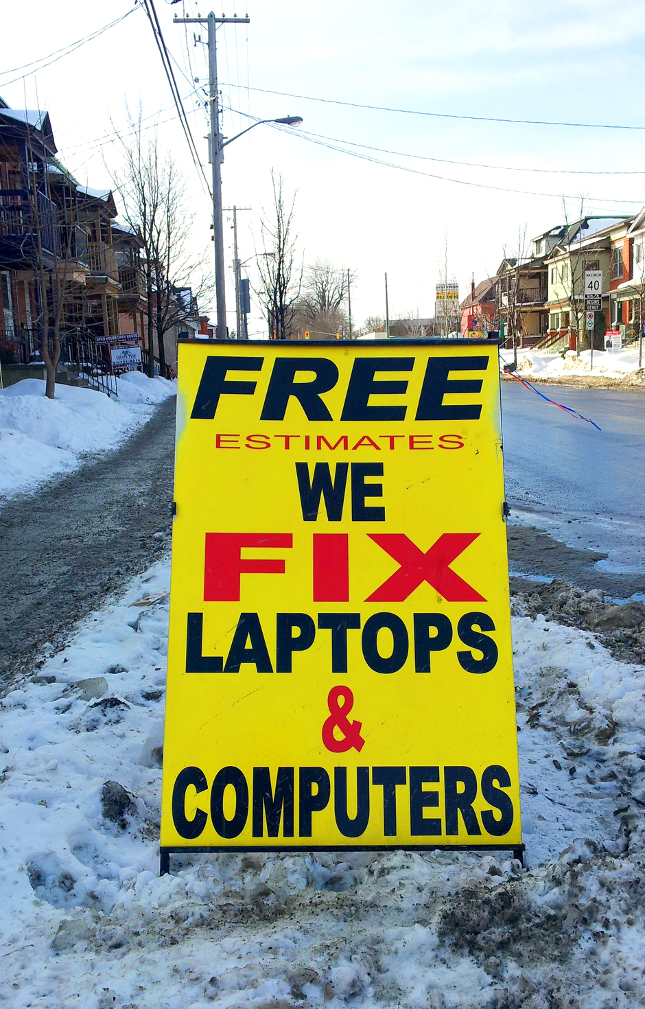 Laptop and Computer Repair Free Estimate Sign